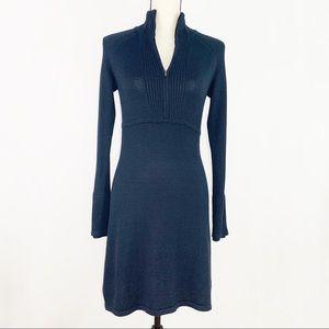 ATHLETA navy blue front zip sweater dress
